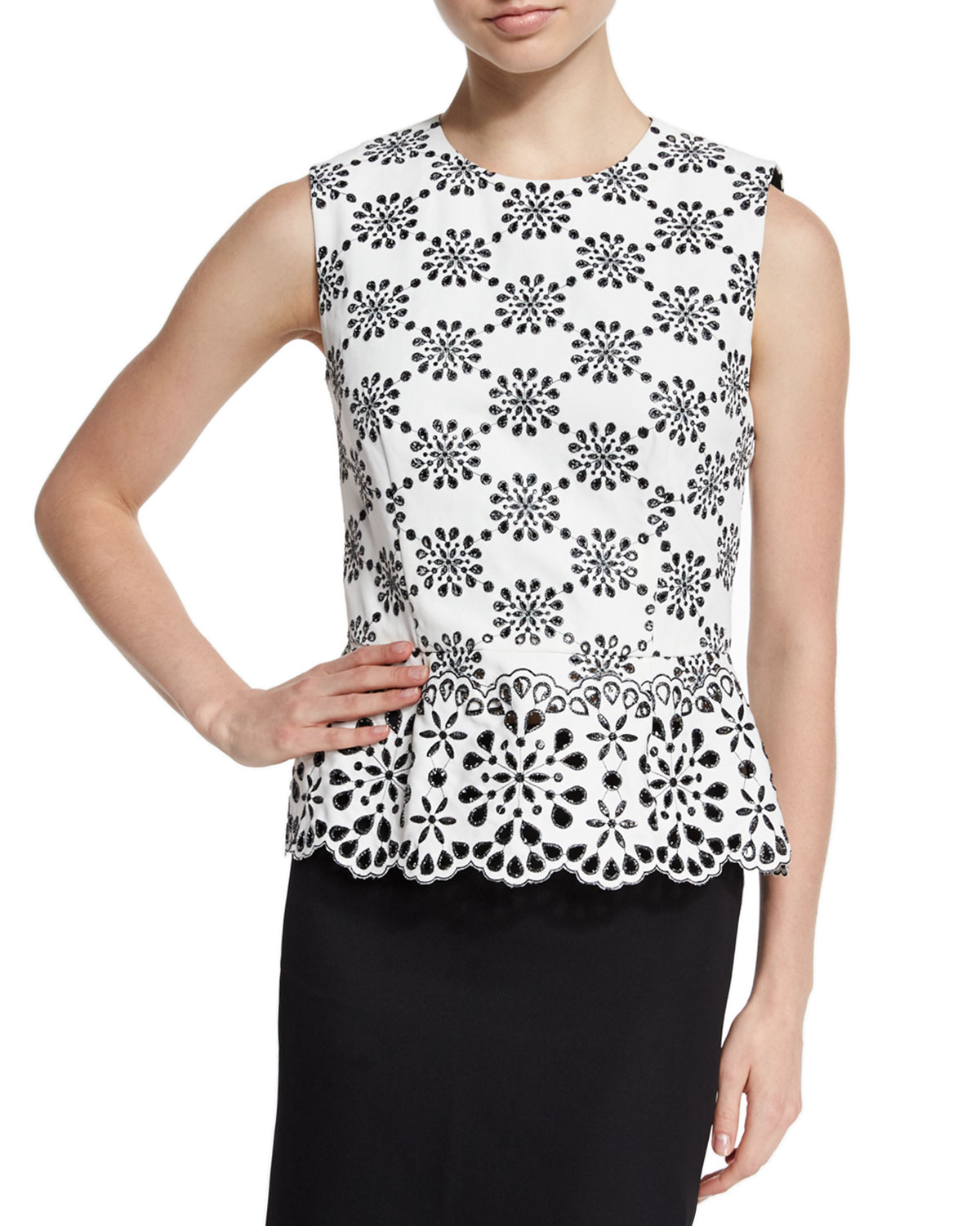 Sleeveless Embroidered-Lace Peplum Top, White