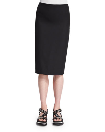 Classic Slim-Fit Pencil Skirt, Black