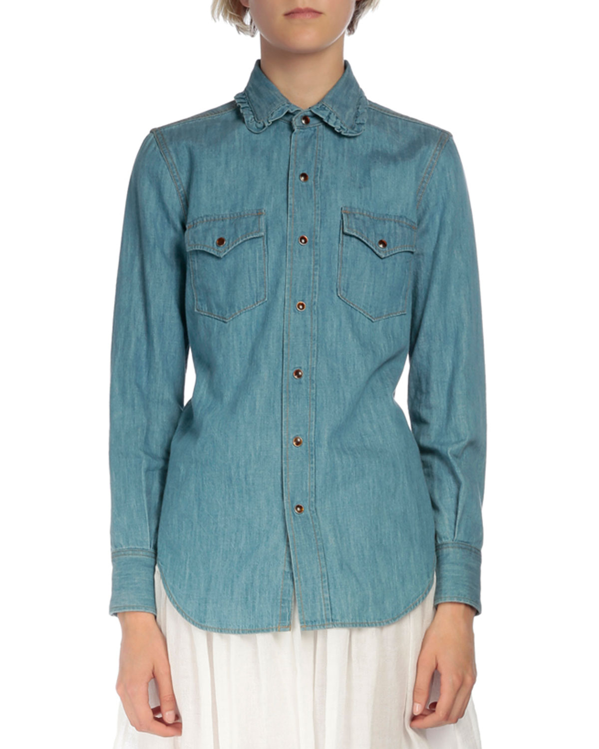 Ruffled-Collar Chambray Shirt, Denim