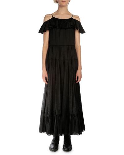 Off-The-Shoulder A-Line Dress, Black