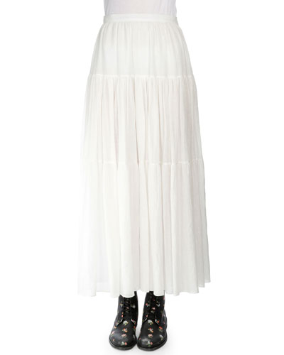 Tiered A-Line Maxi Skirt, Shell White