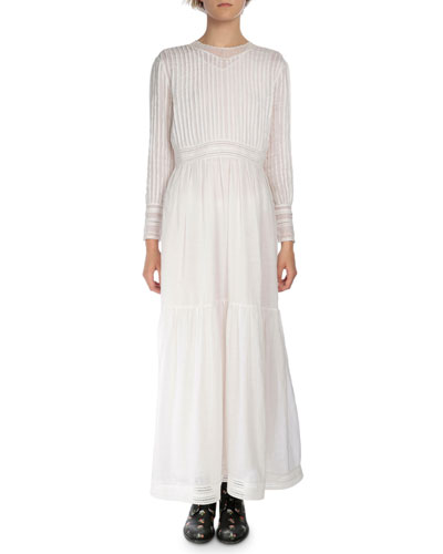 Long-Sleeve Plisse & Tiered Long Dress, White