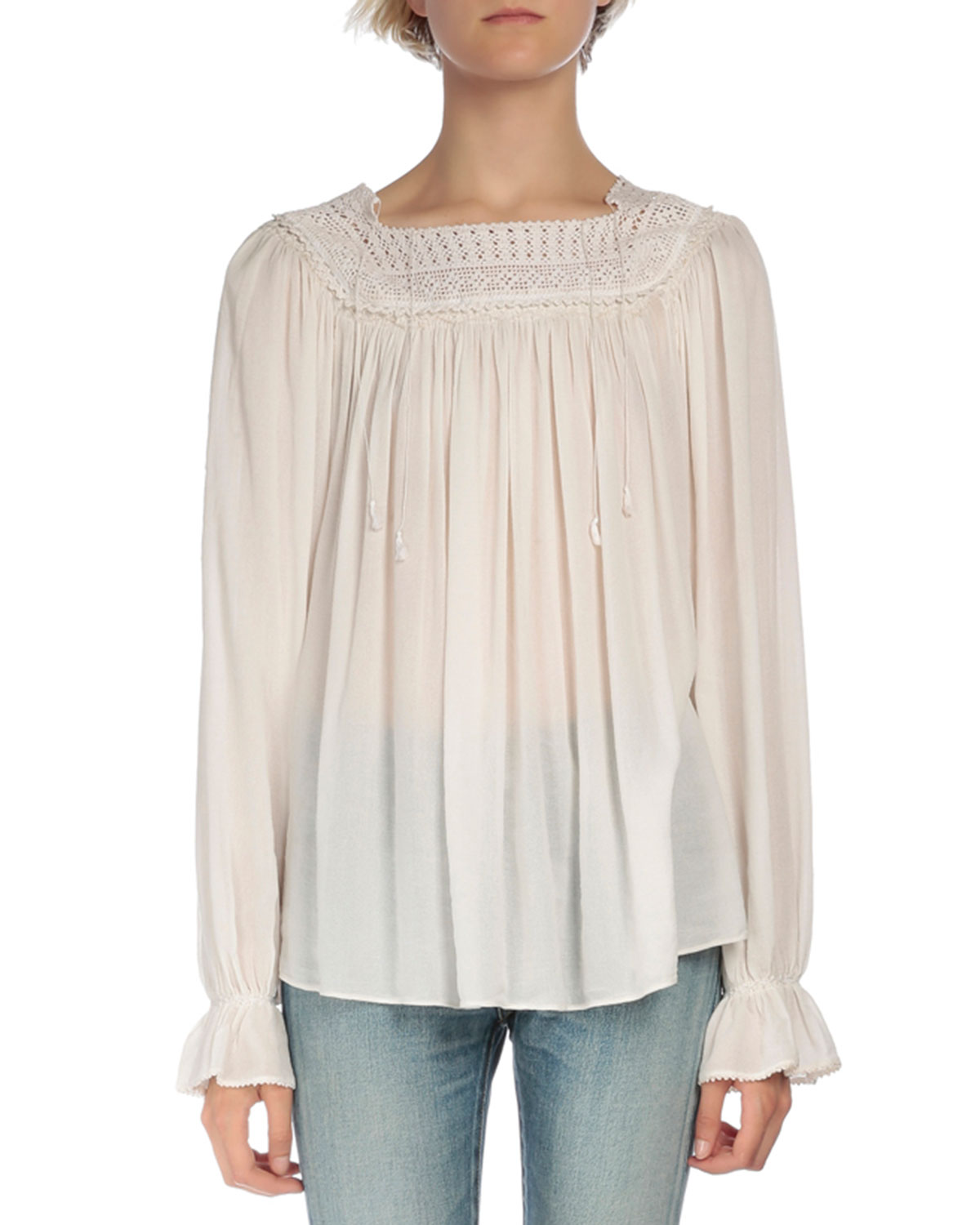 Long-Sleeve Pleated Peasant Top, Ecru