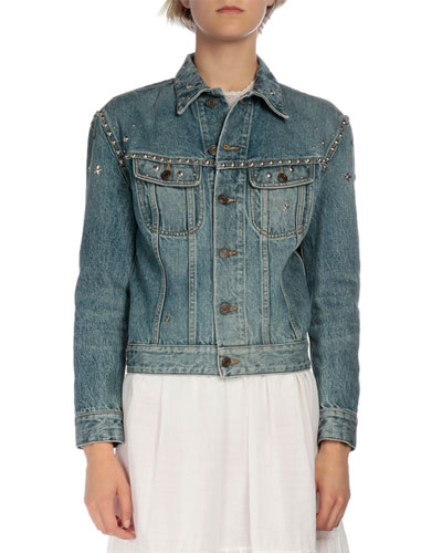 Studded Long-Sleeve Denim Jacket, Denim