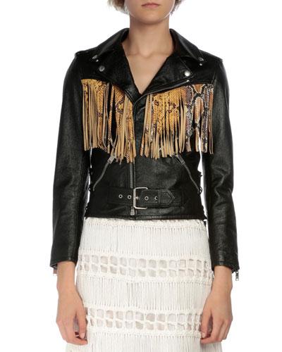 Leather Moto Jacket W/Fringe, Black/Yellow