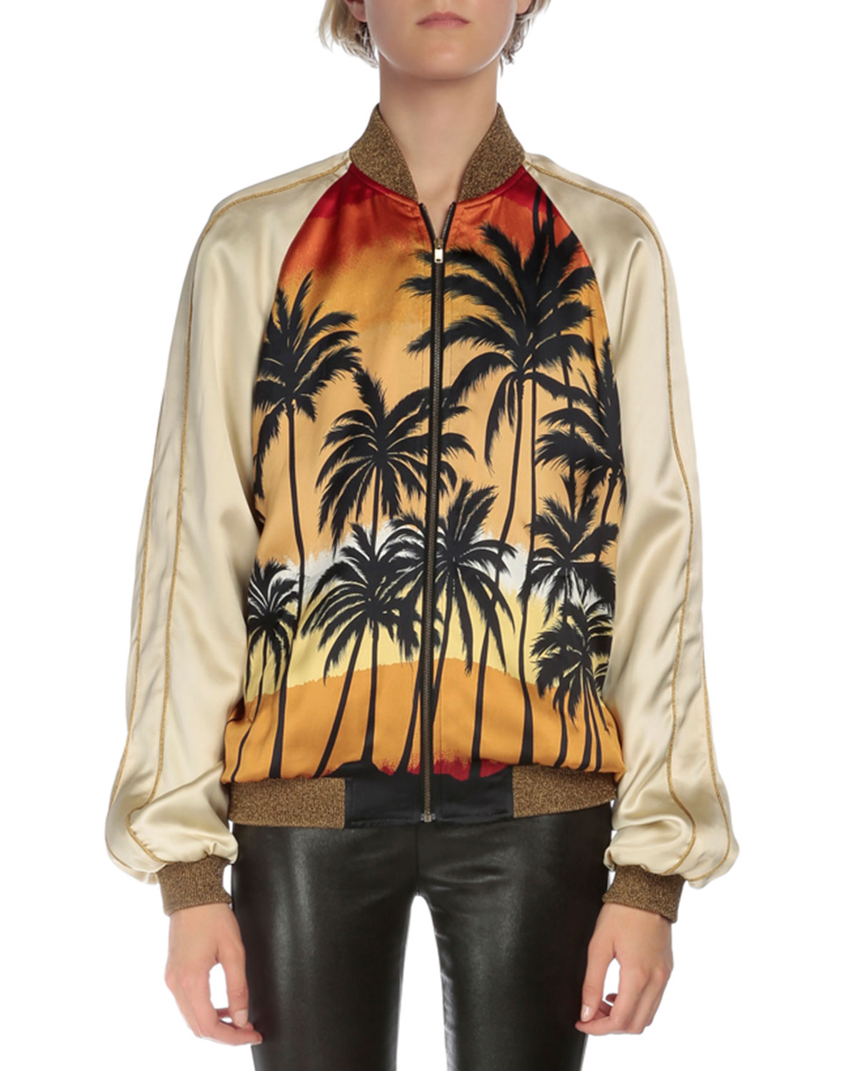 Palm-Tree Bomber Jacket, Red/Black/Yellow
