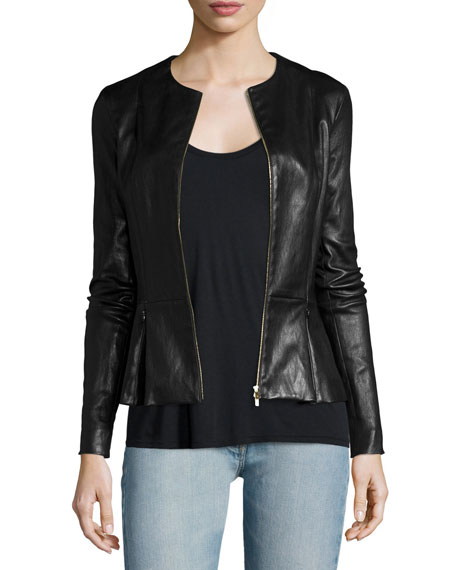 THE ROW Anasta Zip-Front Leather Jacket, Black
