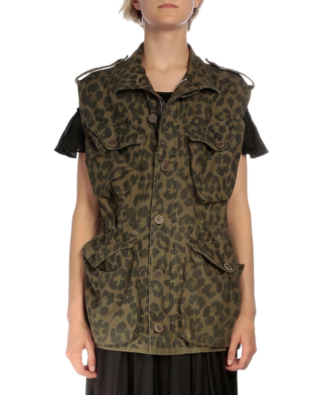 Animal-Print Button-Front Vest, Khaki