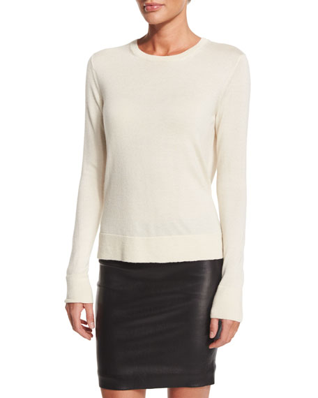 THE ROW Ghent Long-Sleeve Sweater, Ivory