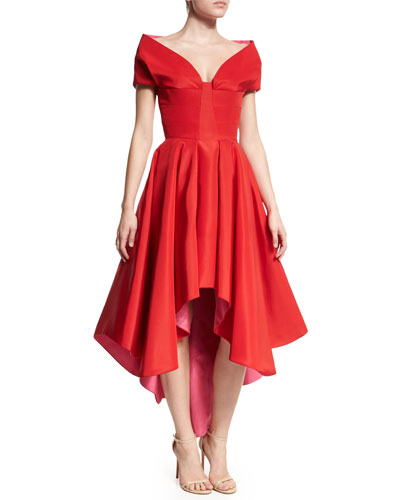 Tulip Two-Tone Dress, Red