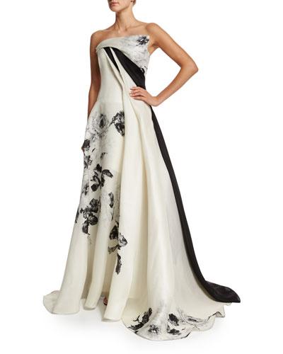 Strapless Black-Rose Gazar Gown, Black/White