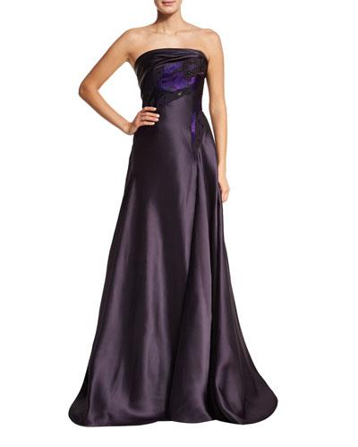 Dahlia Strapless A-Line Gown, Purple