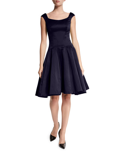 Cap-Sleeve Scoop-Neck Cocktail Dress, Midnight