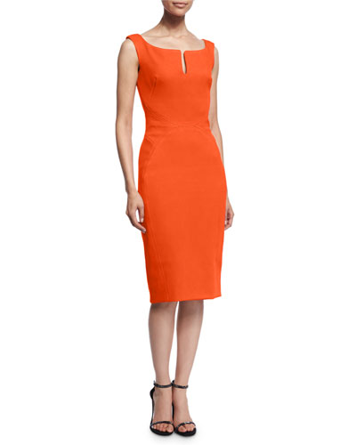 Sleeveless Split-Neck Cocktail Dress, Orange