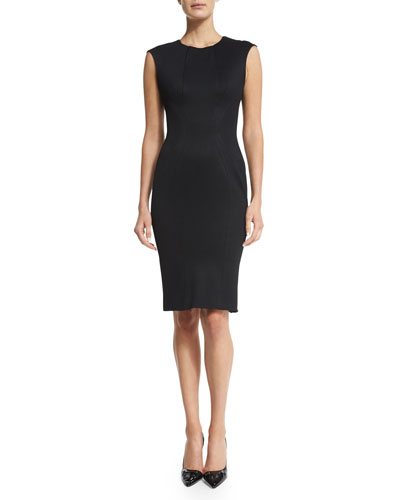 Sleeveless Jewel-Neck Day Dress, Black
