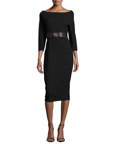 3/4-Sleeve Belted Dress, Black