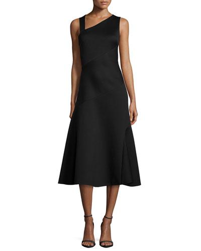 Sleeveless Spiral-Draped A-Line Dress, Black