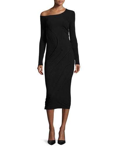 Long-Sleeve Off-The-Shoulder Dress, Black