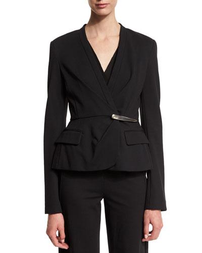 Long-Sleeve Peplum Jacket, Black