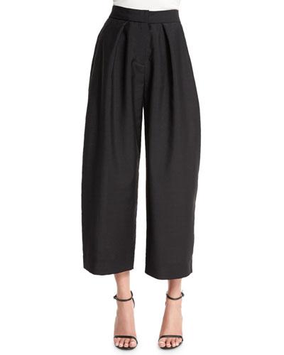 Wide-Leg Cropped Jacquard Pants, Black