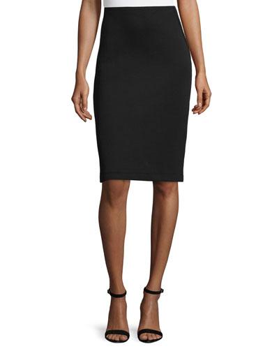 Three-Panel Pencil Skirt, Black