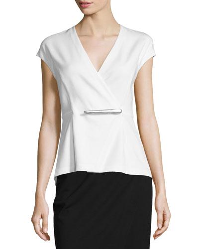 Cap-Sleeve Peplum Jacket-Style Wrap Top, Ivory