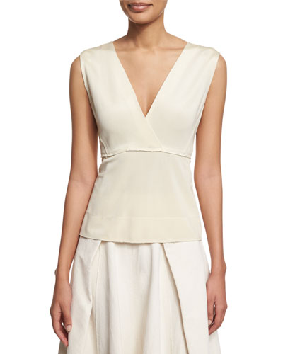 Sleeveless V-Neck Peplum Top, Ecru