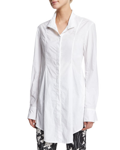 Long-Sleeve Button-Front Tunic, White