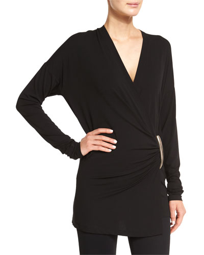 Long-Sleeve Wrap Top, Black