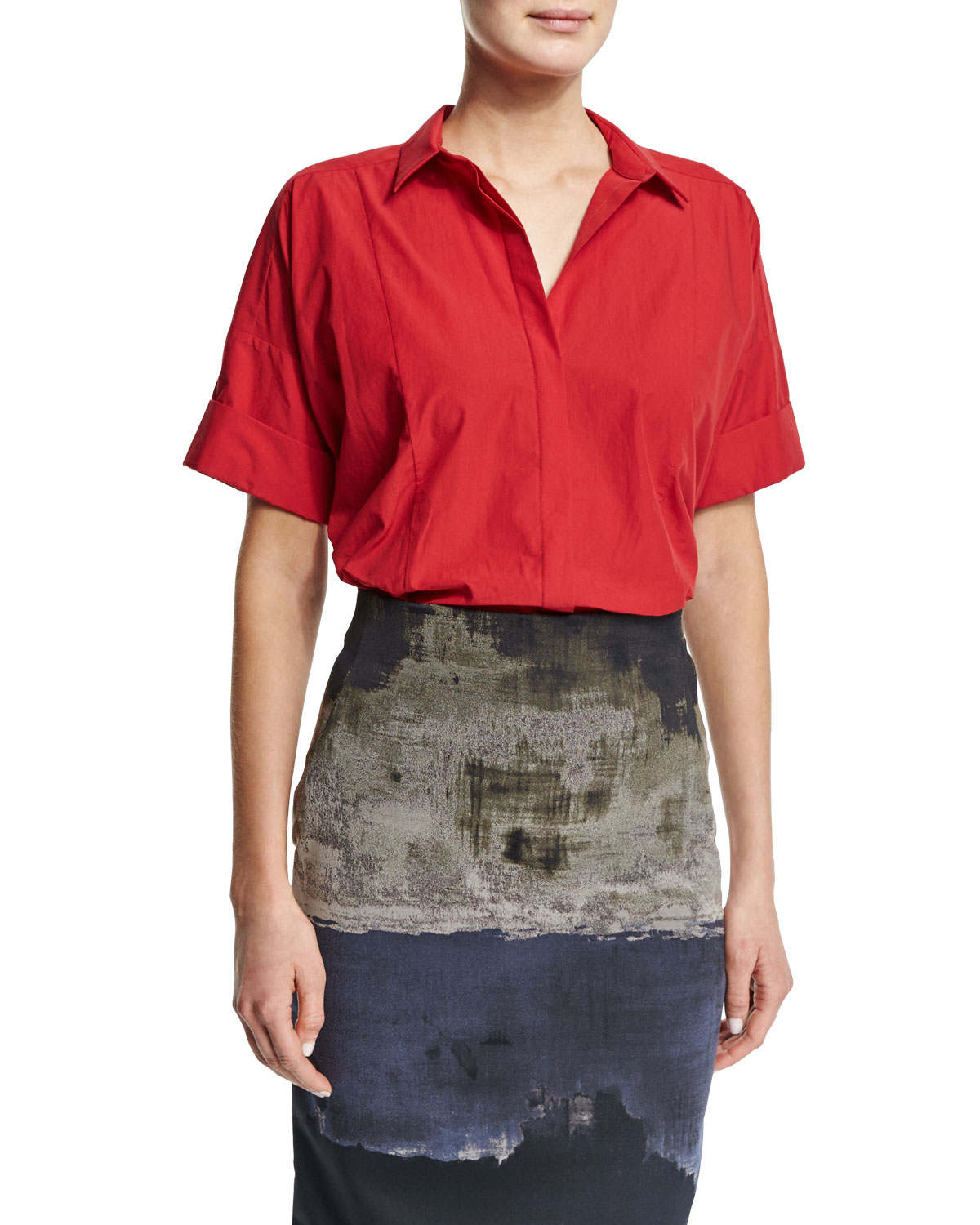 Short-Sleeve Camp Shirt, Lacquer