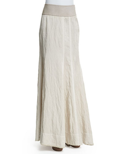 Slim-Fit Floor Skirt, Natural