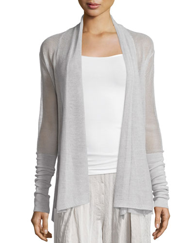 Draped-Front Cashmere Cardigan, Natural