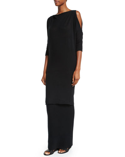 3/4-Sleeve Convertible Long Cashmere Tunic, Black