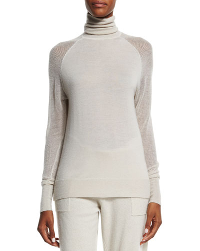 Cashmere Turtleneck Sweater, Natural