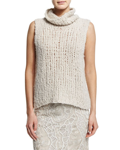 Sleeveless Cashmere Sweater, Natural