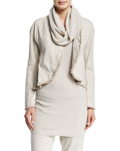 Long-Sleeve Raw-Edge Short Jacket, Natural