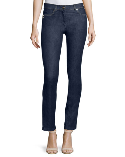 Straight-Leg Ankle Jeans, Navy