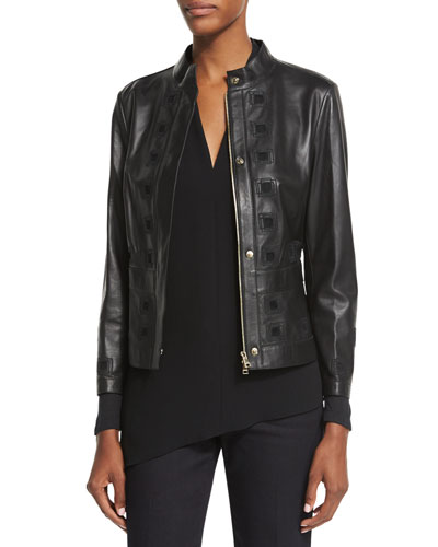 Laser-Cut Leather Jacket, Black
