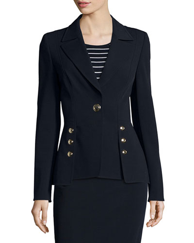 Two-Button Scuba Peplum Jacket, Navy