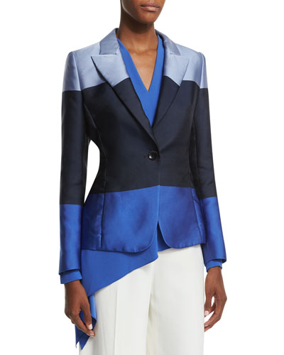 One-Button Colorblock Jacket, Heather Blue
