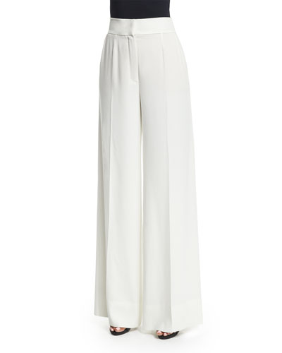 Flat-Front Wide-Leg Pants, Off White