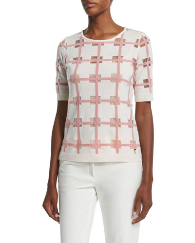 Short-Sleeve Window-Check Blouse, Off White