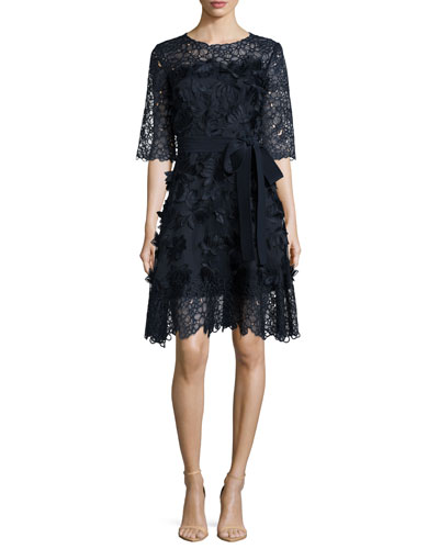 Three-Dimensional Daisy Applique & Lace Dress, Navy