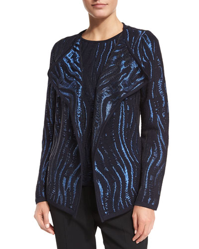 Open-Front Wave Intarsia Cardigan, Navy