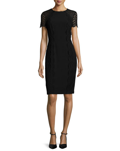 Short-Sleeve French-Lace Dress, Black