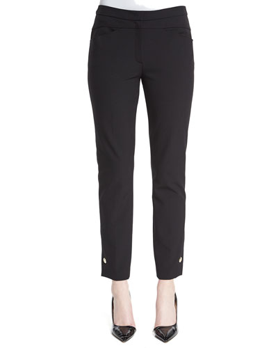 Grommet-Snap Cropped Pants, Black