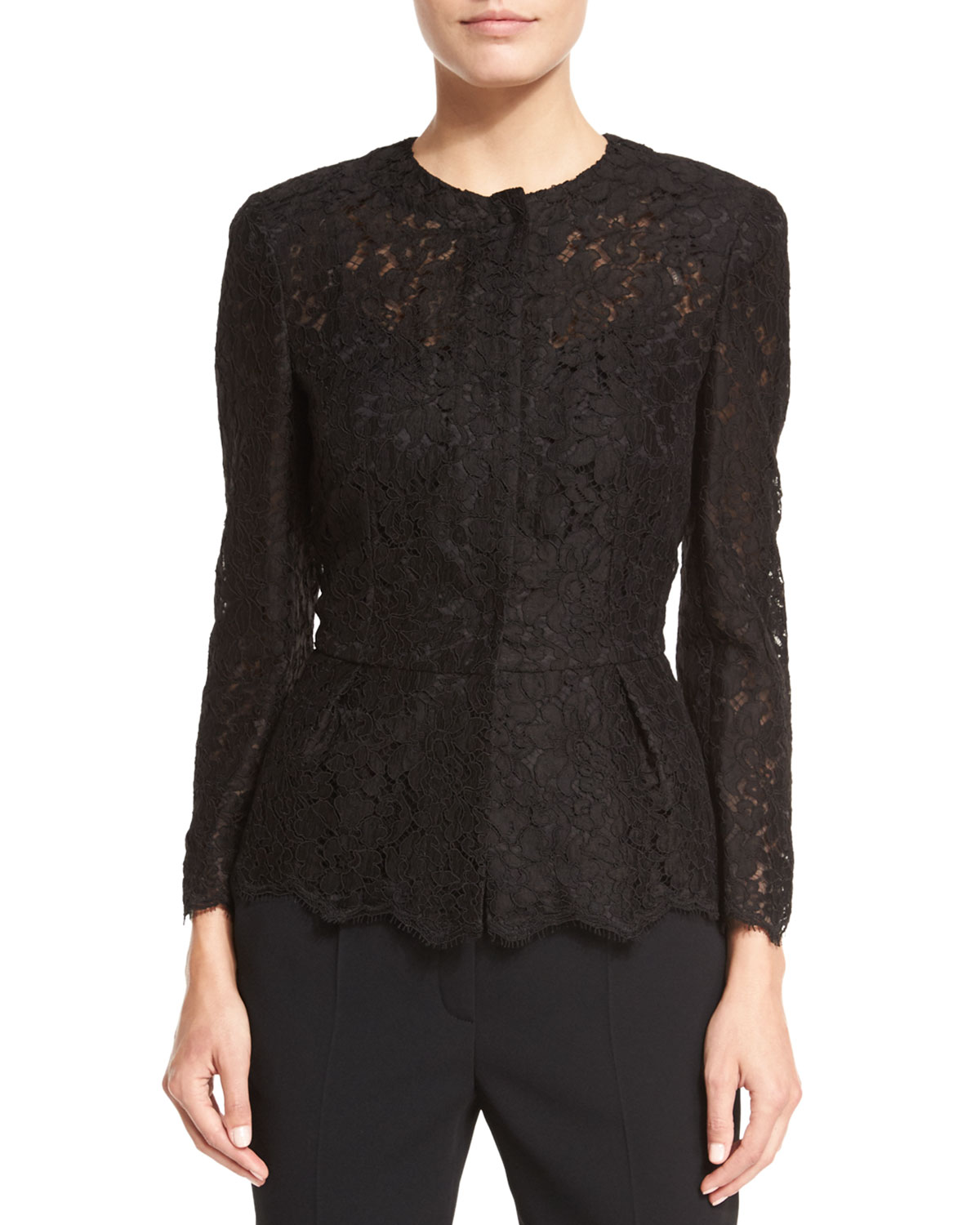Swiss-Lace Peplum Jacket, Black