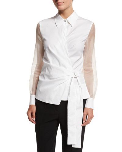 Sheer-Sleeve Wrap Blouse, White