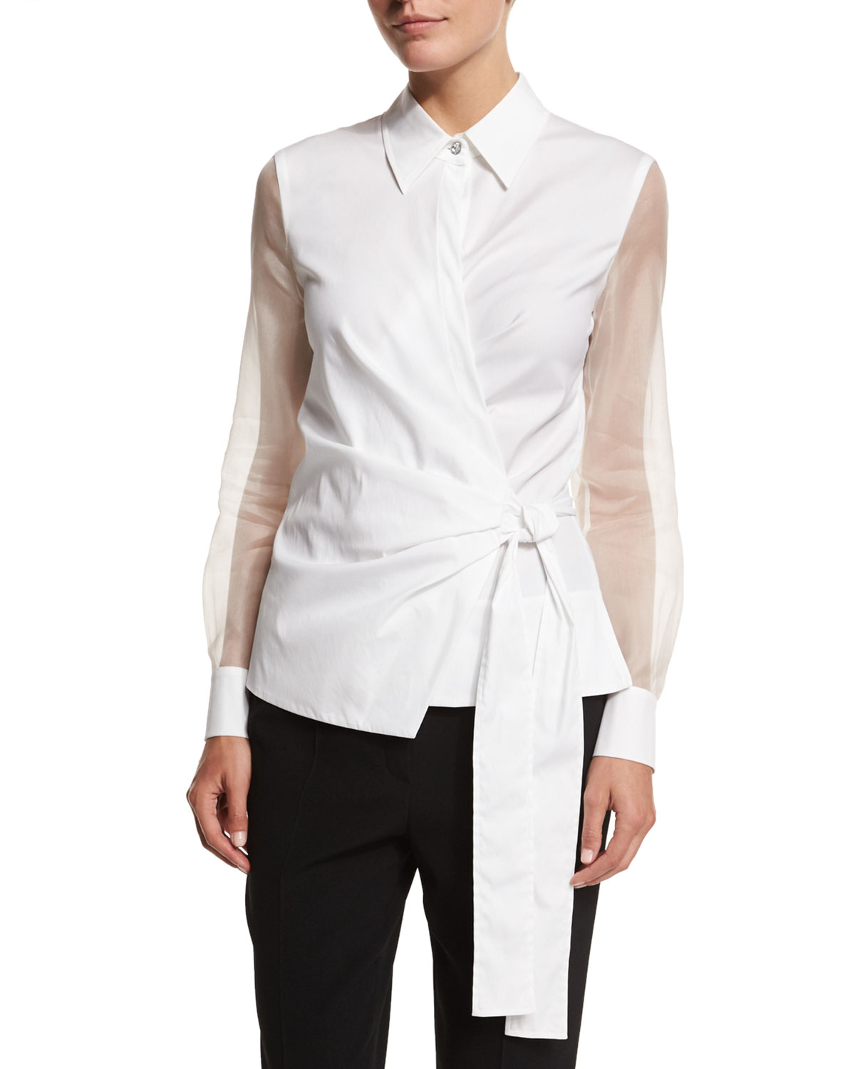 Sheer-Sleeve Wrap Blouse, White
