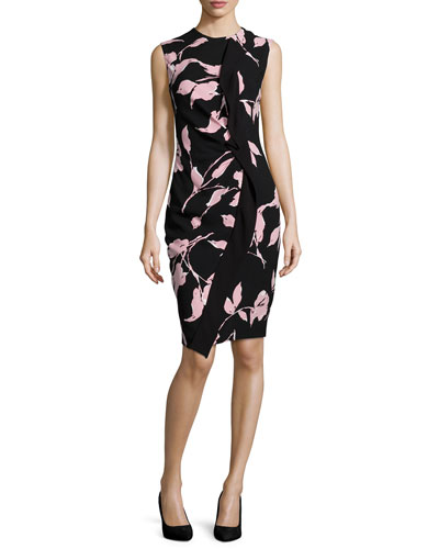 Sleeveless French-Rose-Print Sheath Dress, Black/Rose